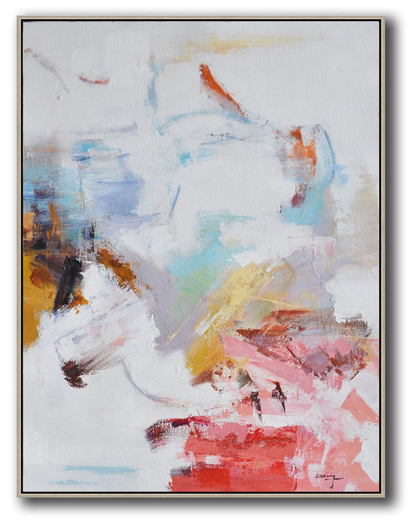 Abstract Painting Extra Large Canvas Art,Oversized Abstract Landscape Painting,Extra Large Artwork,Grey,Pink,Red,White.etc